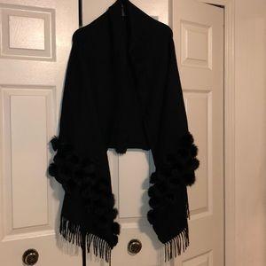 Black fur shawl for women